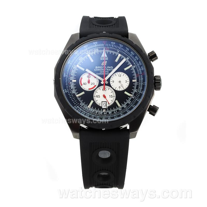 Replik Breitling Chrono Matic Working Chronograph Full PVD with Black Dial Rubber Strap 182788