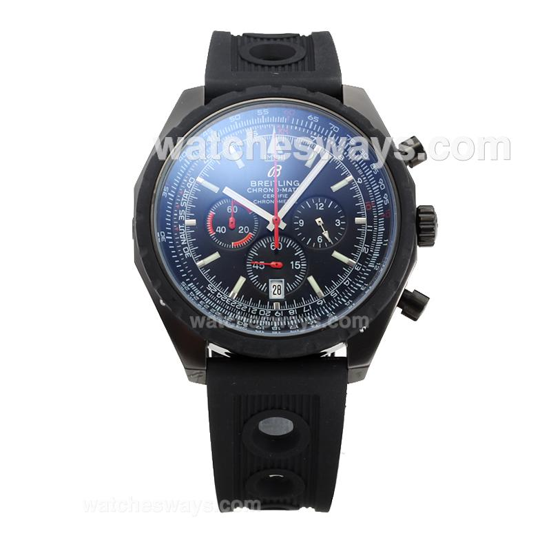 Replik Breitling Chrono Matic Working Chronograph Full PVD with Black Dial Rubber Strap-1 182786