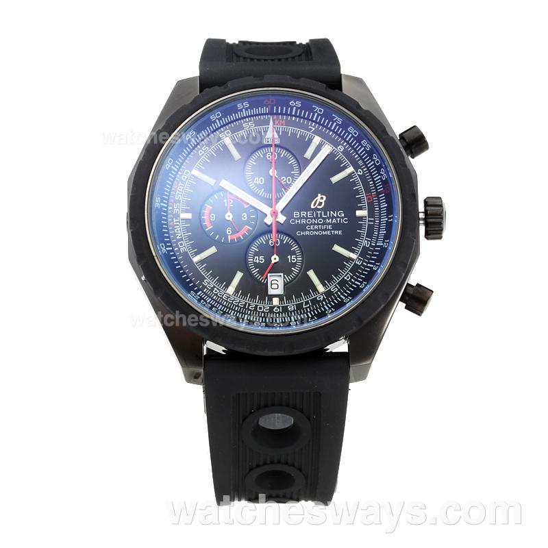 Replik Breitling Chrono Matic Working Chronograph Full PVD with Black Dial Rubber Strap-2 182784
