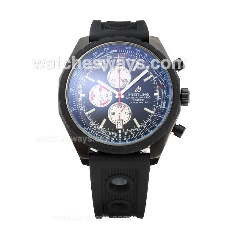 Replik Breitling Chrono Matic Working Chronograph Full PVD with Black Dial Rubber Strap-3 182782