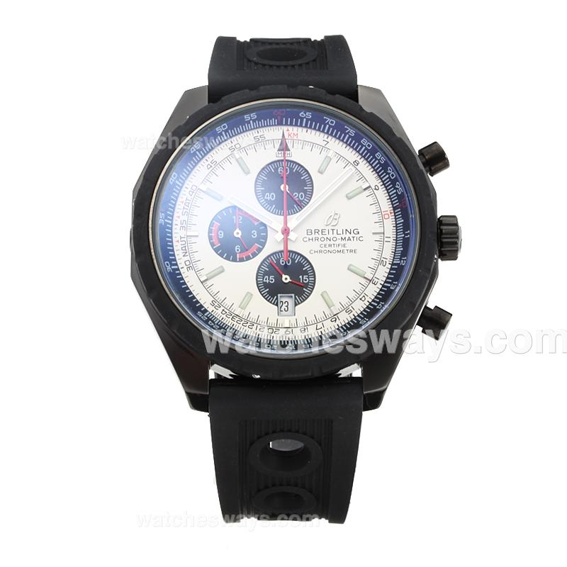 Replik Breitling Chrono Matic Working Chronograph Full PVD with White Dial Rubber Strap 182780