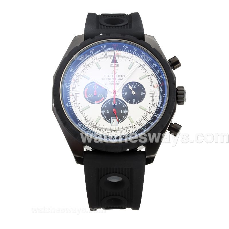 Replik Breitling Chrono Matic Working Chronograph Full PVD with White Dial Rubber Strap-1 182778