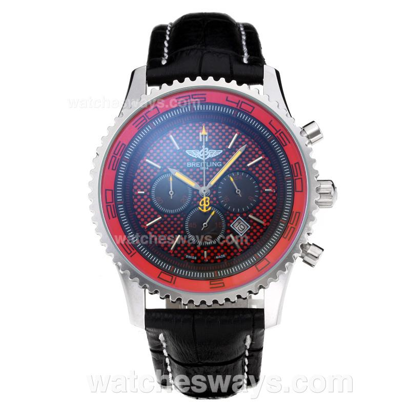 Replik Breitling Chronospace Working Chronograph with Red Dial Leather Strap 202556
