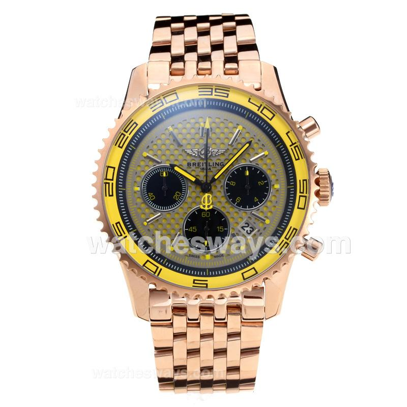 Replik Breitling Chronospace Working Chronograph Full Rose Gold with Yellow Dial 191356