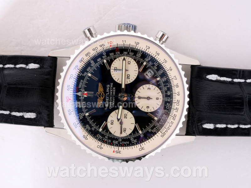 Replik Breitling Navitimer Chronograph Swiss Valjoux 7750 Movement AR Coating with Black Dial 14454
