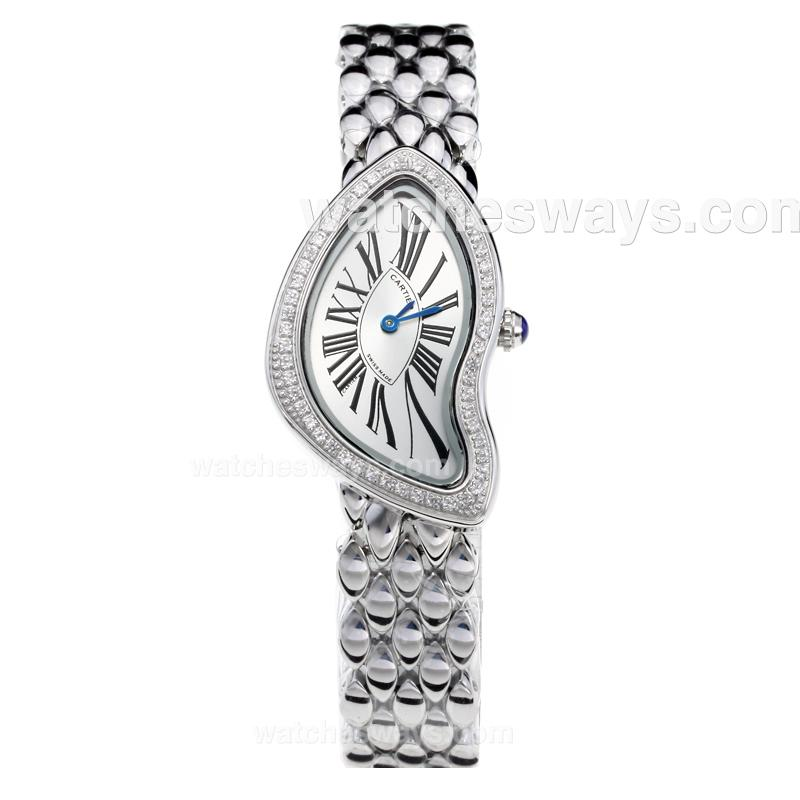 Replik Cartier Baignoire Diamond Bezel with White Dial S/S 210910