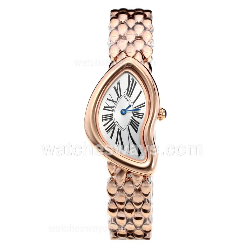 Replik Cartier Baignoire Full Rose Gold with White Dial 210906