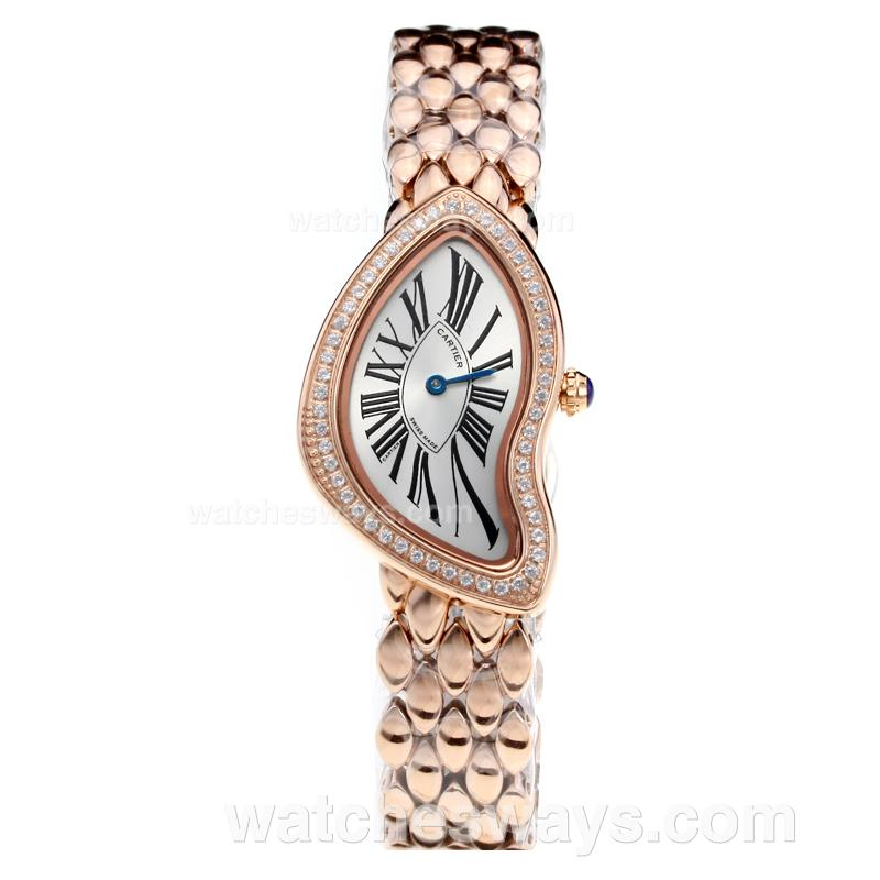 Replik Cartier Baignoire Diamond Full Rose Gold with White Dial 210904