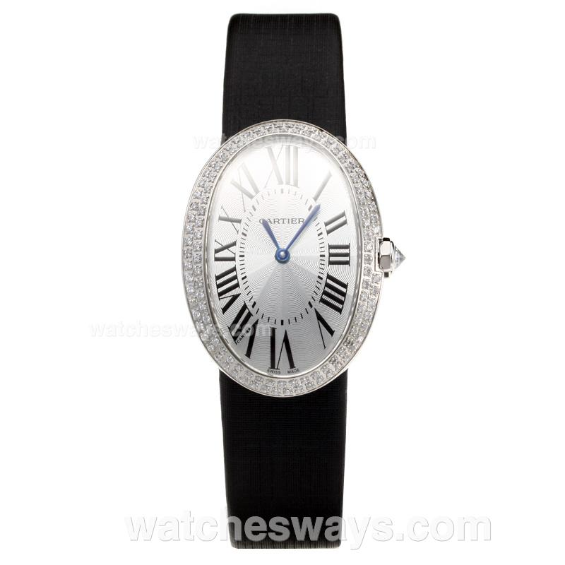 Replik Cartier Baignoire Diamond Case with white Dial-Leather Strap 211124
