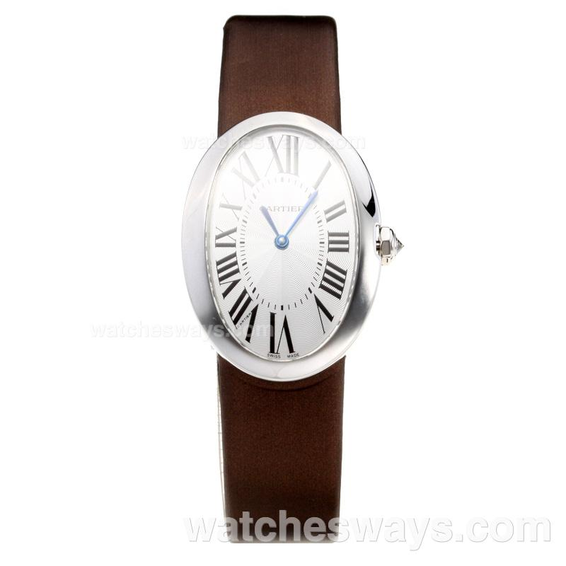 Replik Cartier Baignoire with white Dial-Leather Strap 211120