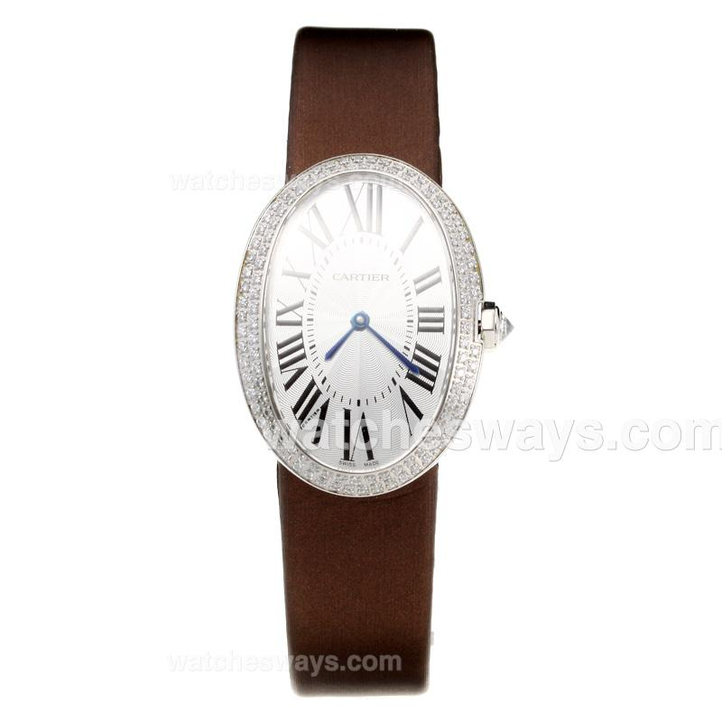 Replik Cartier Baignoire Diamond Bezel with white Dial-Leather Strap 211118