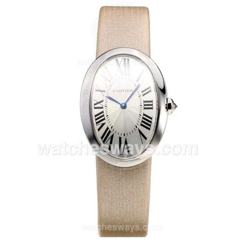 Replik Cartier Baignoire with white Dial-Leather Strap-1 211116