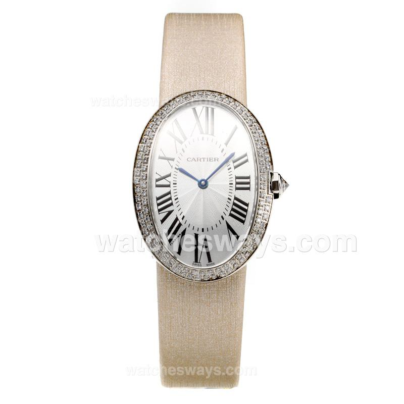 Replik Cartier Baignoire Diamond Bezel with white Dial-Leather Strap(Gift Box is Included) 211114