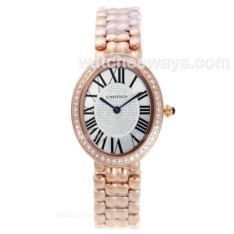 Replik Cartier Baignoire Full Rose Gold with Diamond Bezel and White Dial 120806
