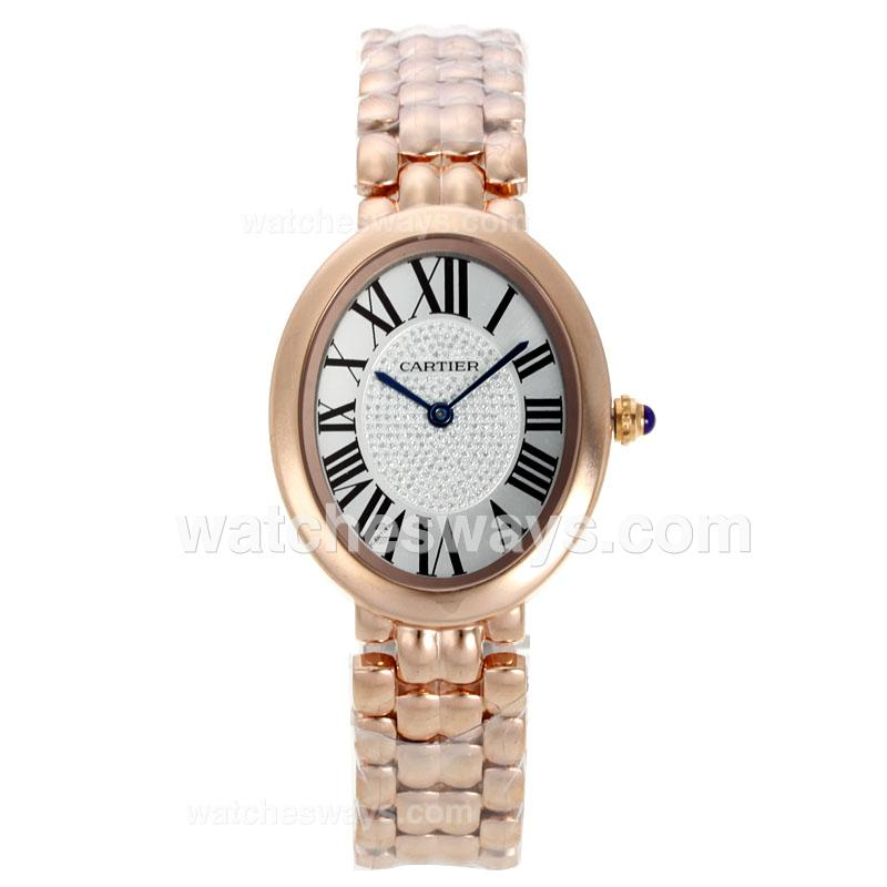 Replik Cartier Baignoire Full Rose Gold with White Dial Roman Markers 120804