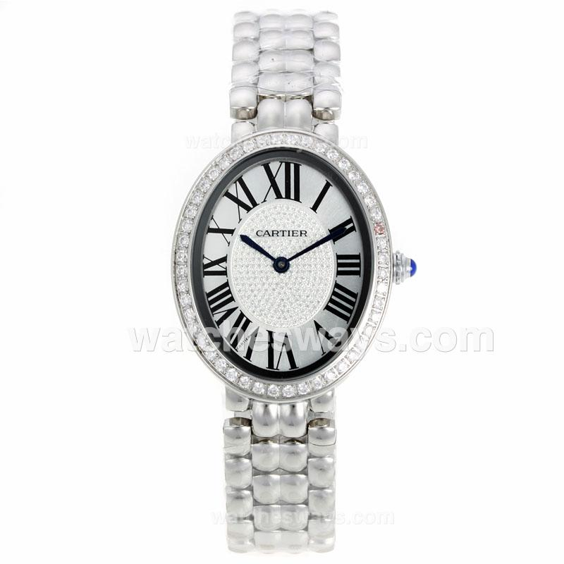 Replik Cartier Baignoire Diamond Bezel Roman Markers with White Dial S/S 120802