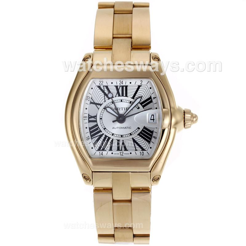 Replik Cartier Roadster Swiss ETA 2892 Movement Full Gold with Silver Dial 110752