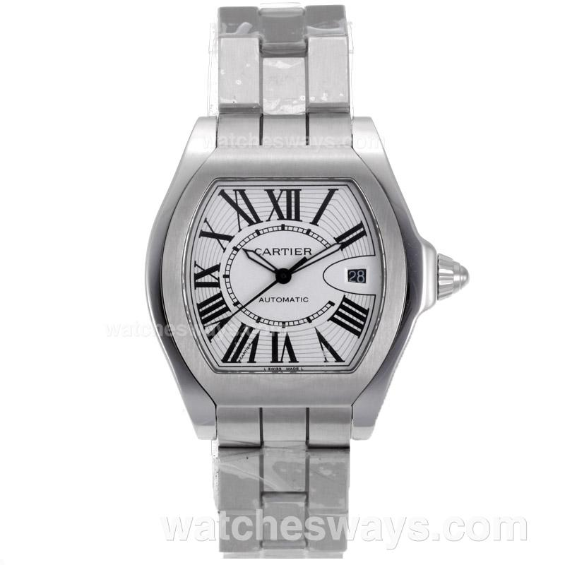 Replik Cartier Roadster Swiss ETA 2824 Movement with White Dial S/S 68215
