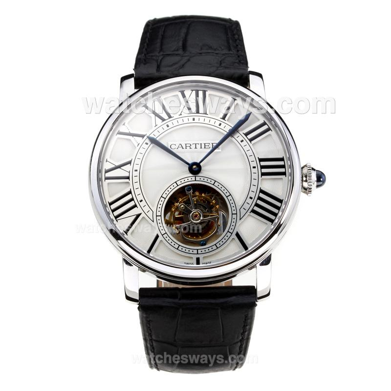 Replik Cartier Rotonde de Cartier Manual Winding Working Tourbillion with White Dial Black Leather Strap-Sapphire Glass 181692