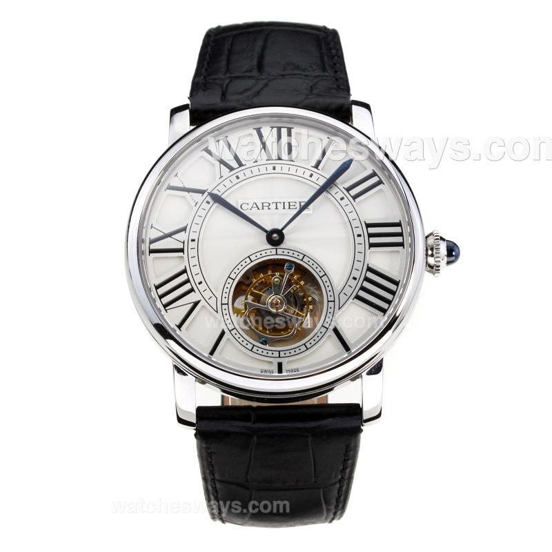 Replik Cartier Rotonde de Cartier Manual Winding Working Tourbillion with White Dial Black Leather Strap-Sapphire Glass-1 181690