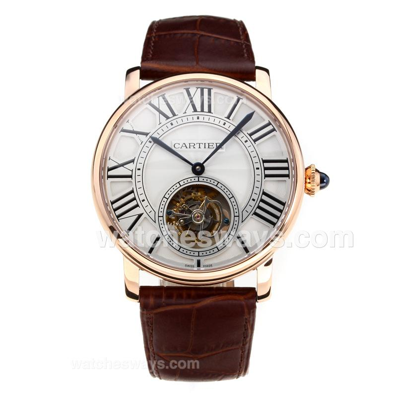 Replik Cartier Rotonde de Cartier Manual Winding Working Tourbillion Rose Gold Case with White Dial Brown Leather Strap-Sapphire Glass 181688