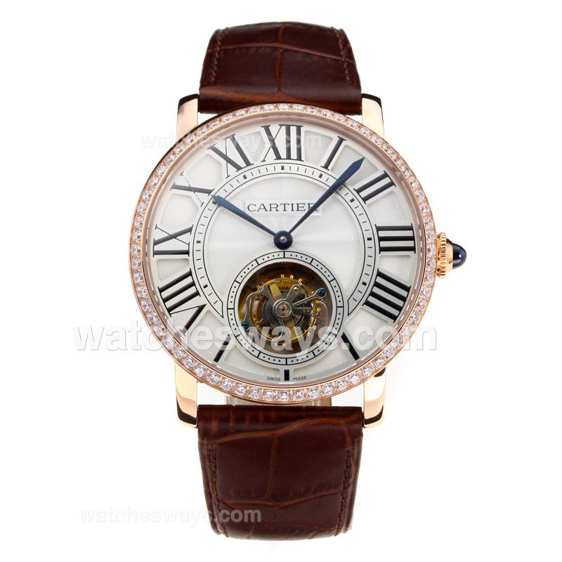 Replik Cartier Rotonde de Cartier Manual Winding Working Tourbillion Rose Gold Case Diamond Bezel with White Dial Brown Leather Strap-Sapphire Glass 181686