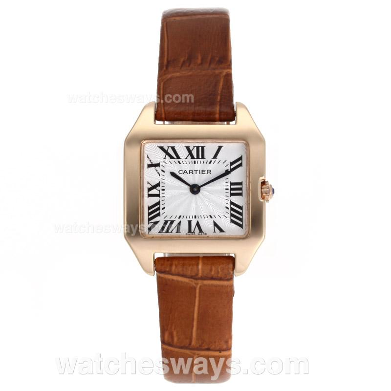 Replik Cartier Santos 100 Rose Gold Case with White Dial Leather Strap 52701