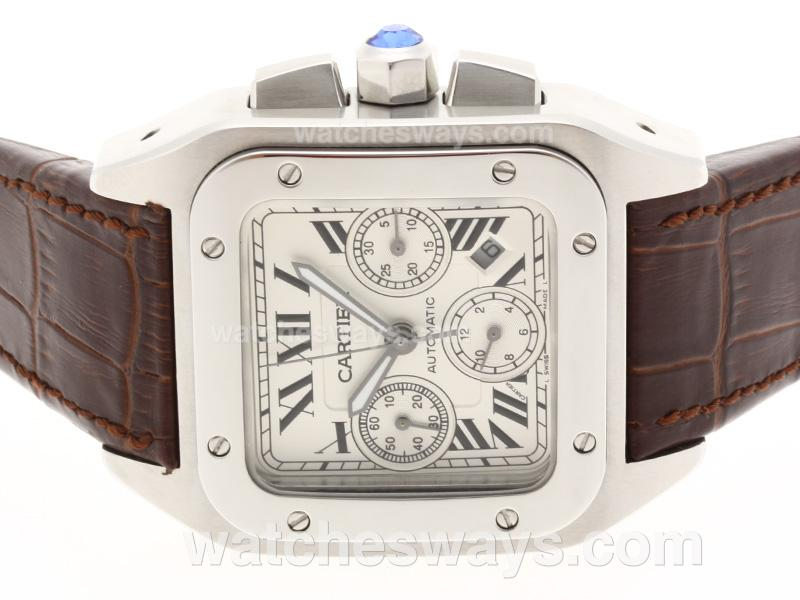 Replik Cartier Santos 100 Chronograph Swiss Valjoux 7750 Movement with White Dial Brown Leather Strap 38127