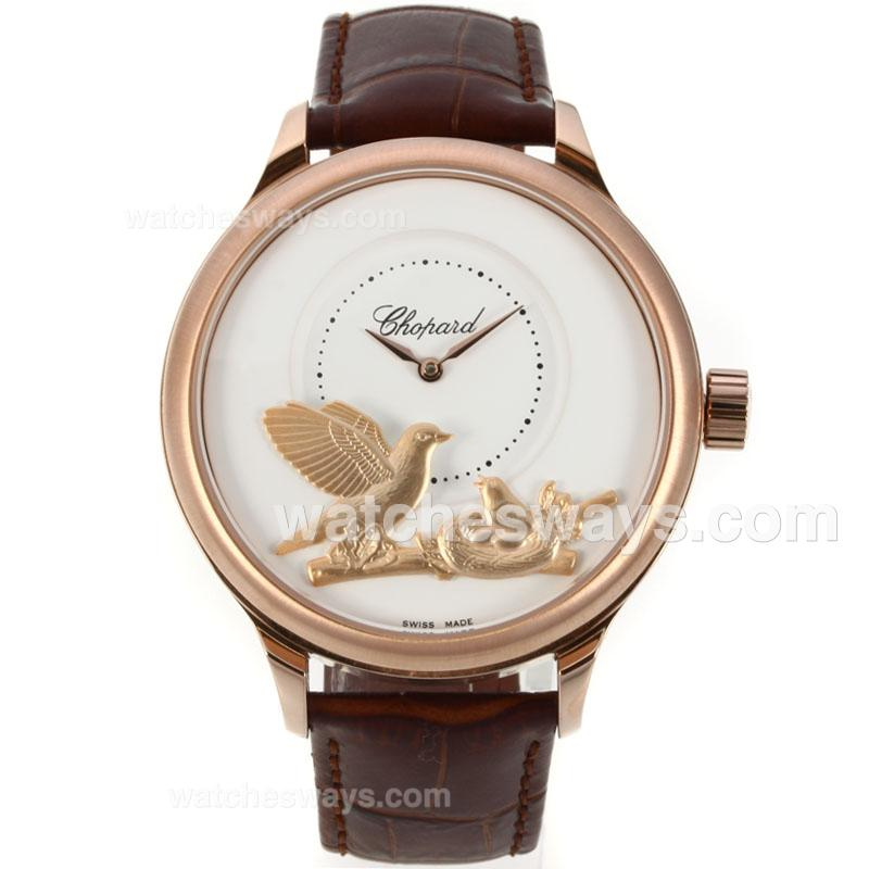 Réplique Chopard L.U.C Collection Montre Automatique Rose Boîtier En Or Blanc Bracelet Cadran En Cuir 138360