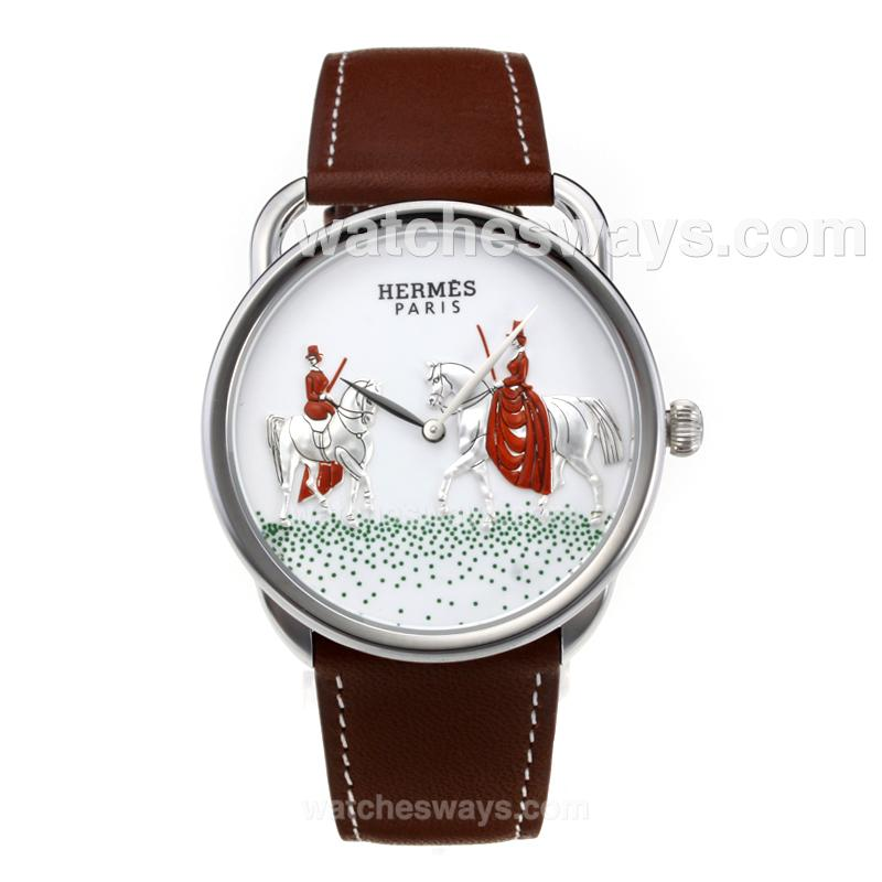 Replik Hermes New Arceau Amazones with White Dial Coffee Leather Strap 184312