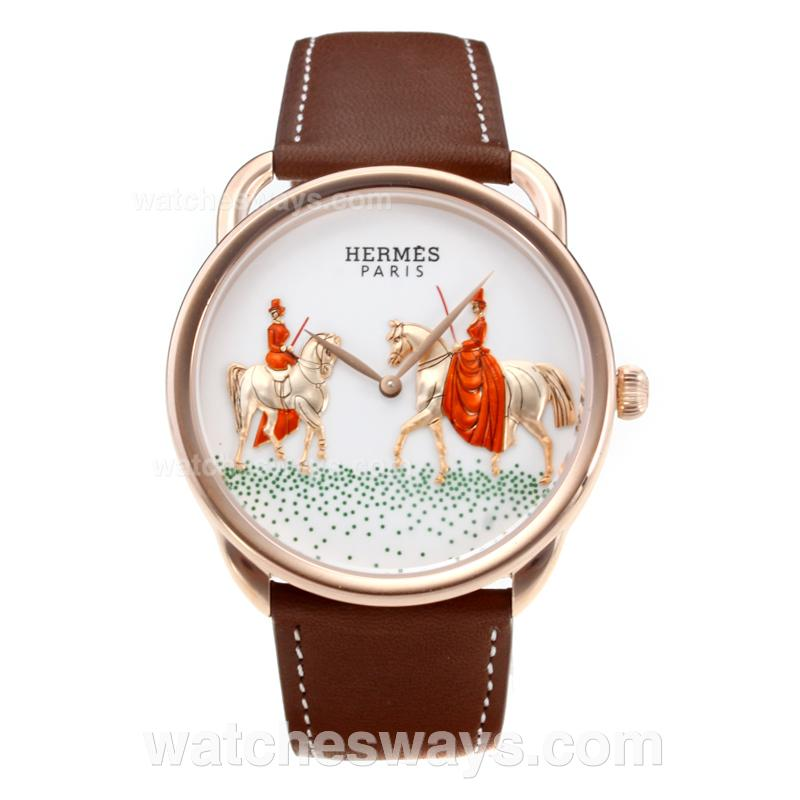 Replik Hermes New Arceau Amazones Rose Gold Case with White Dial Coffee Leather Strap 184310