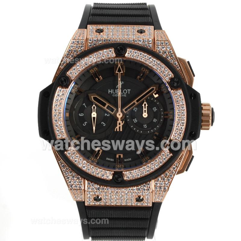 Replik Hublot Big Bang King Chronograph Swiss Valjoux 7750 Movement Diamond Rose Gold Case and Bezel with Black Dial Rubber Strap 104370
