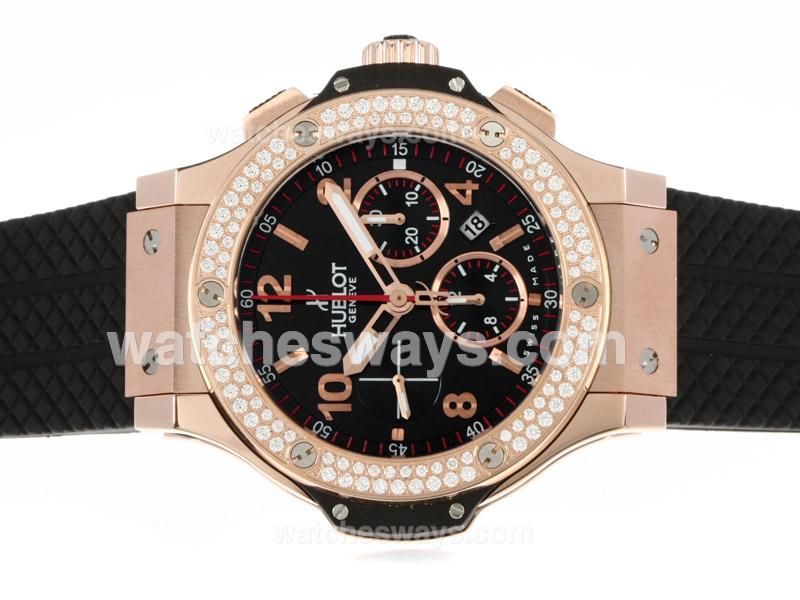 Réplique Hublot Big Bang Montre Chronographe Valjoux 7750 En Or Rose Cas Lunette Sertie De Diamants, Cadran Noir 41551