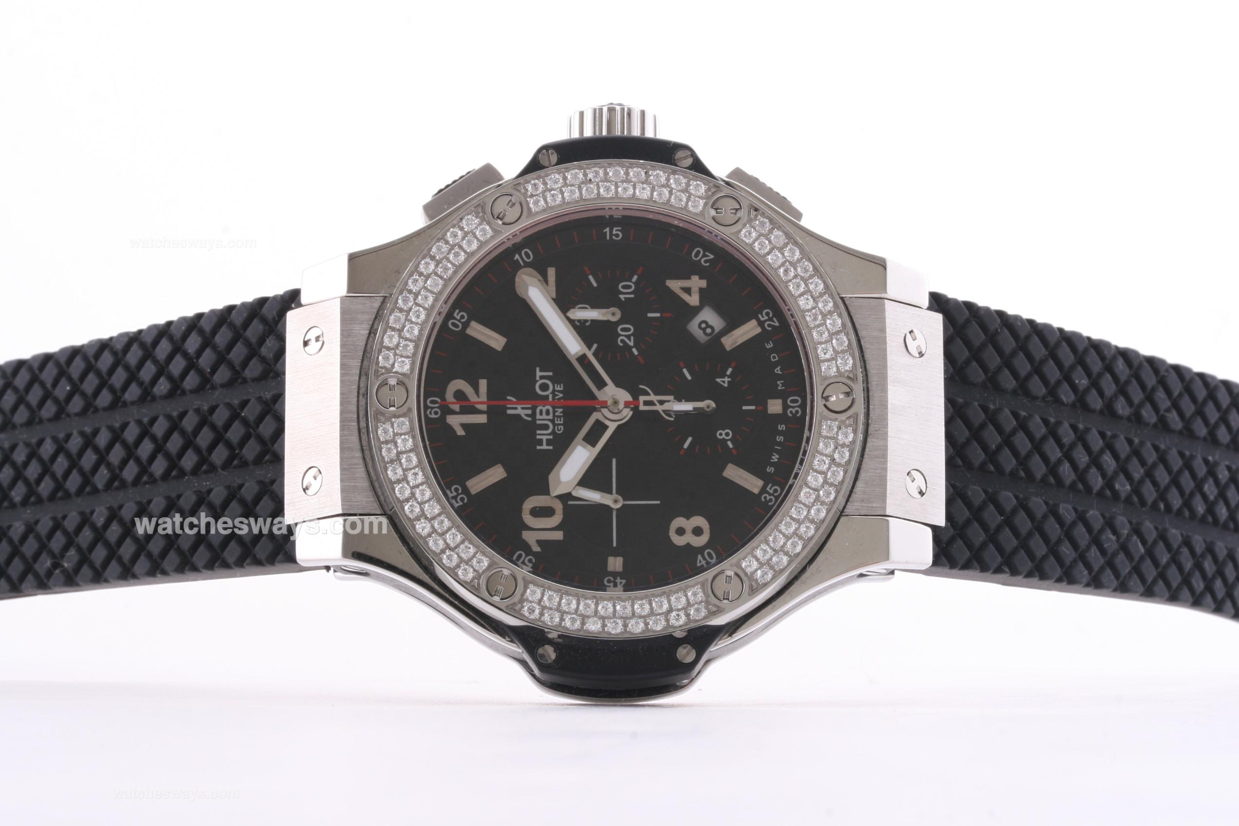 Réplique Hublot Big Bang Montre Chronographe Valjoux 7750 Mouvement Lunette Sertie De Diamants 30406
