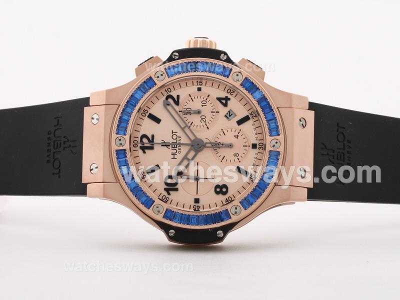 Réplique Hublot Big Bang Montre Or Mat Chronographe Valjoux Suisse 7750 Mouvement - Cz Bleu Lunette Sertie De Diamants 30358