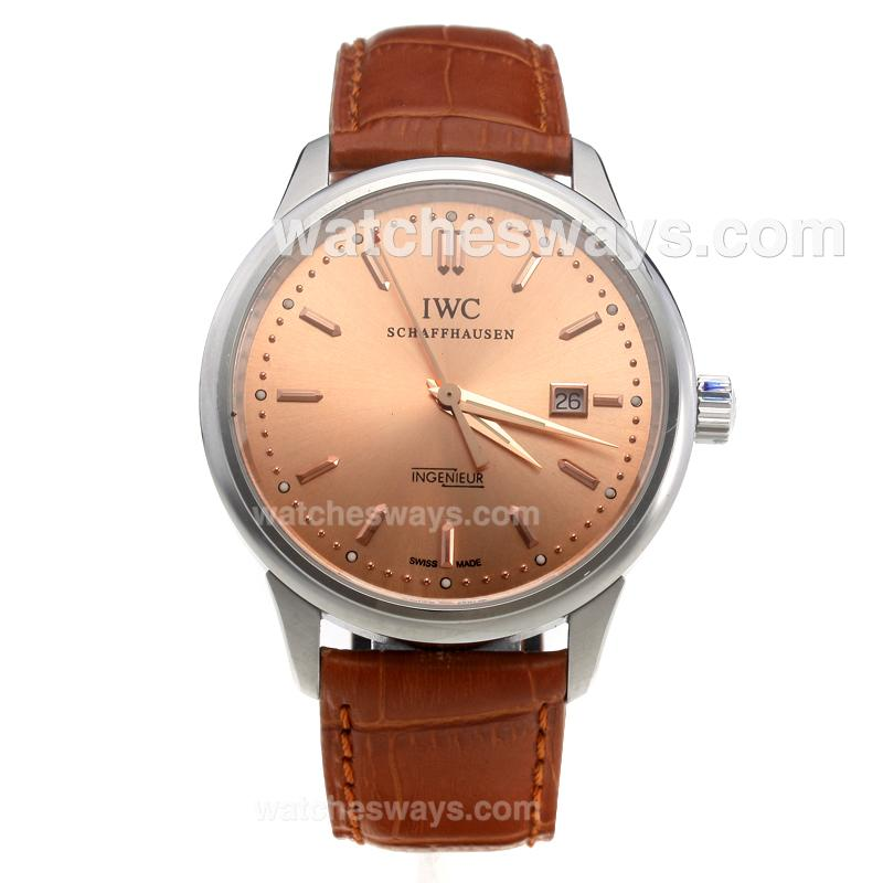 Replik IWC InGenieur Swiss ETA 2836 Movement Stick Markers with Champagne Dial-Leather Strap 219470