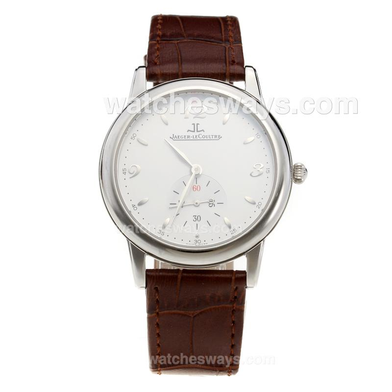 Replik Jaeger-Lecoultre Master with White Dial-Leather Strap 218930