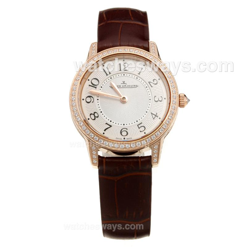 Replik Jaeger-Lecoultre Rendez-Vous Rose Gold Case Diamond Bezel with White Dial-Brown Leather Strap 218144