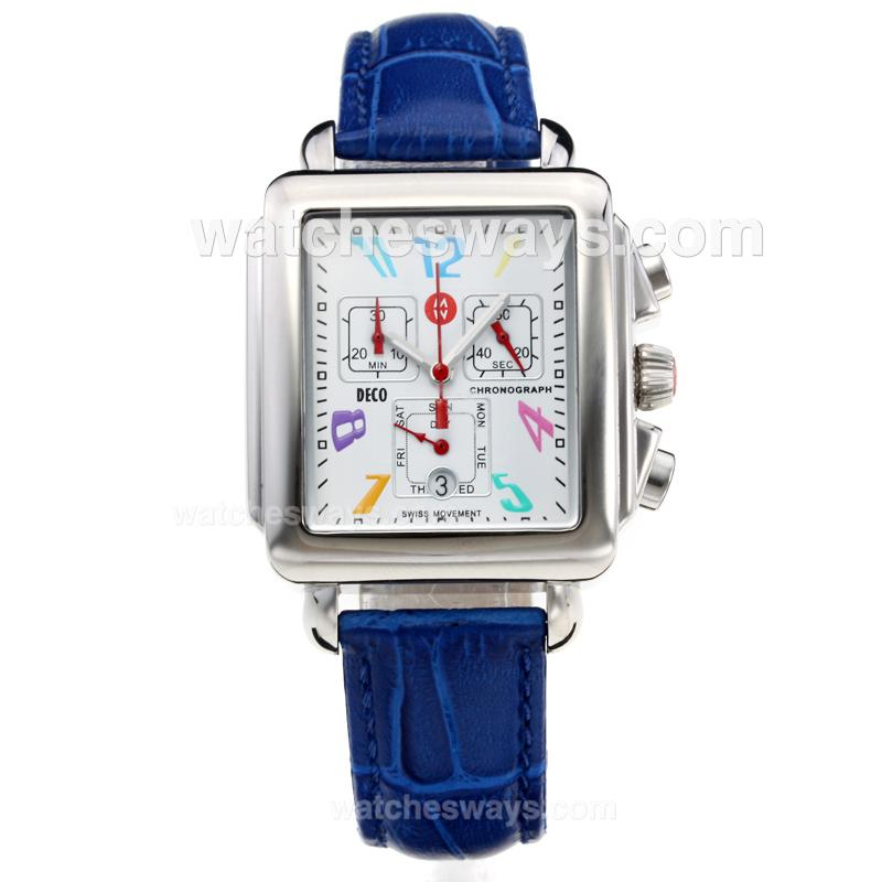 Replik Michele DECO Working Chronograph with White Dial-Leather Strap 212280
