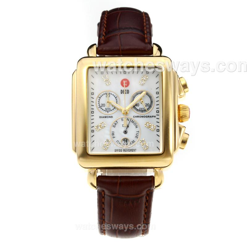 Replik Michele DECO Working Chronograph Yellow Gold Case with White Dial-Brown Leather Strap 212258