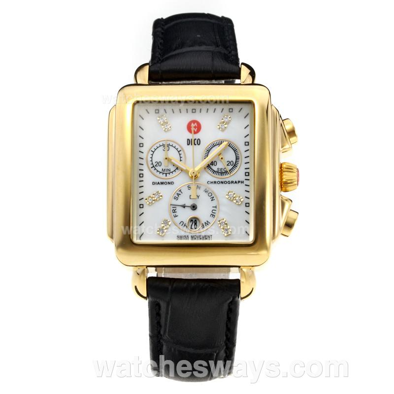 Replik Michele DECO Working Chronograph Yellow Gold Case with White Dial-Black Leather Strap 212256