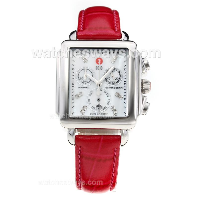 Replik Michele DECO Working Chronograph Diamond Markers with White Dial-Red Leather Strap 212274