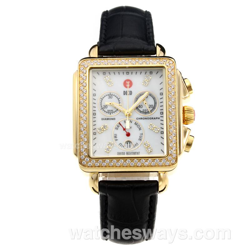 Replik Michele DECO Working Chronograph Diamond Bezel Yellow Gold Case with White Dial-Leather Strap 212254
