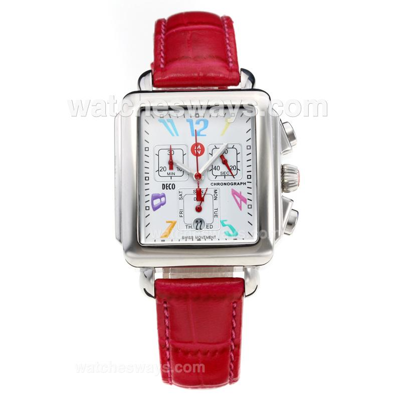 Replik Michele DECO Working Chronograph with White Dial-Leather Strap-Number Markers 212272