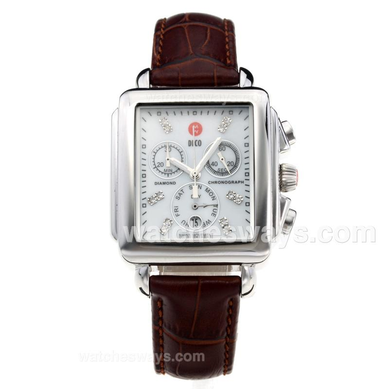 Replik Michele DECO Working Chronograph with White Dial-Leather Strap-3 212252
