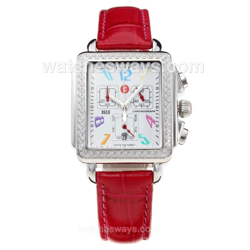 Replik Michele DECO Working Chronograph Diamond Bezel with White Dial-Leather Strap-Silver Second Hand 212270