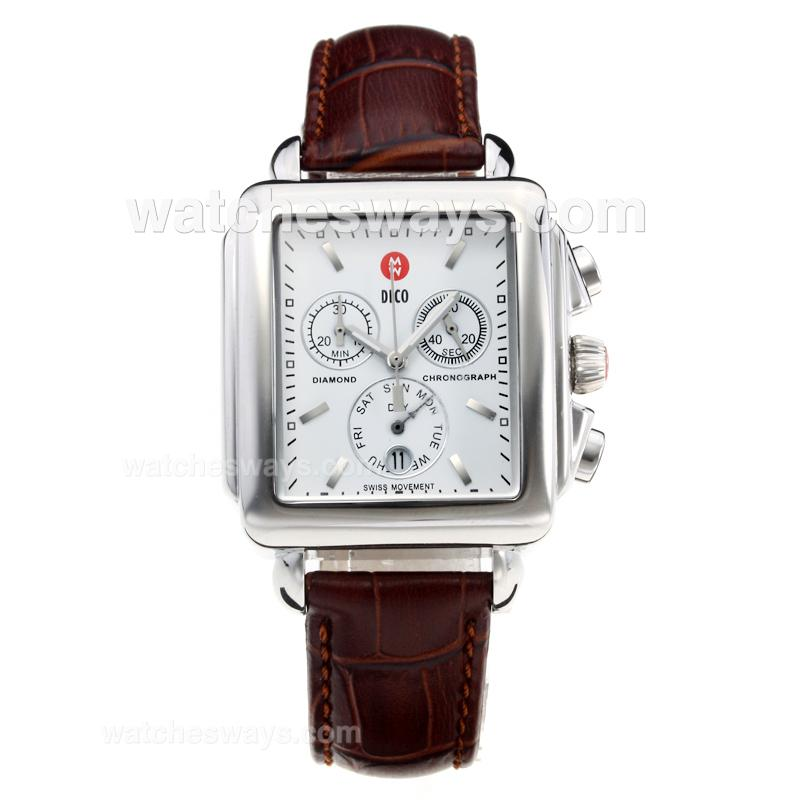 Replik Michele DECO Working Chronograph with White Dial-Leather Strap-4 212250