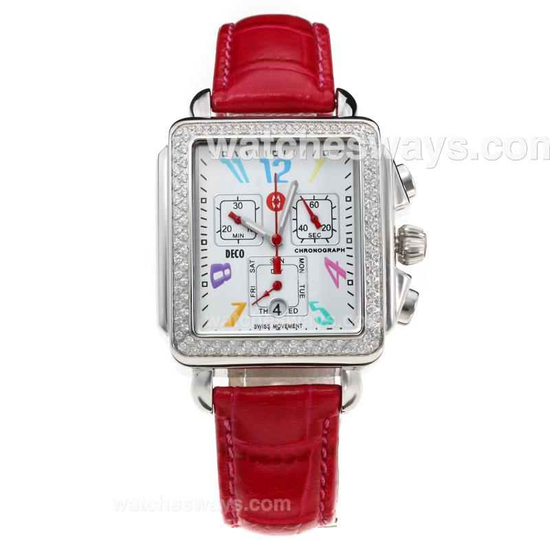 Replik Michele DECO Working Chronograph Diamond Bezel with White Dial-Leather Strap-Red Second Hand 212268