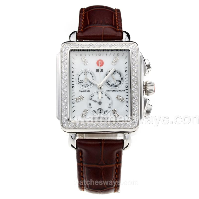Replik Michele DECO Working Chronograph Diamond Bezel with White Dial-Leather Strap-1 212248