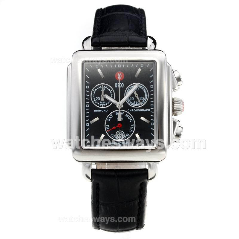Replik Michele DECO Working Chronograph with Black Dial-Leather Strap-1 212266